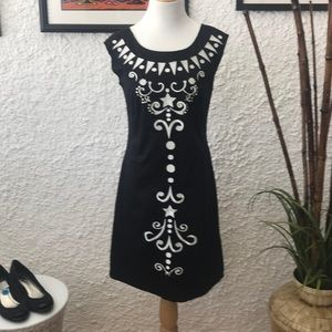 Embroidered black cotton dress
